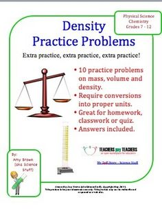 Density Practice Problems. This is a worksheet of practice problems on ...