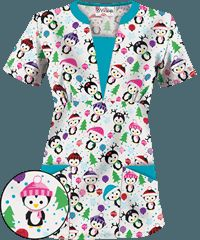 UA Party Penguins White Print Scrub Top