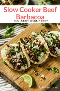 This easy shredded beef barbacoa made in the slow cooker is made with a spicy and smoky chipotle pepper sauce with onions and garlic. Good Healthy Recipes, Whole 30 Recipes, Healthy Cooking, Healthy Eating, Skinny Recipes, Delicious Recipes, Slow Cooker Beef, Slow Cooker Recipes, Crockpot Recipes