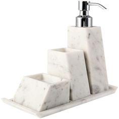 Scandola Marmi Maya White Bathroom Set ($335) ❤ liked on Polyvore featuring home, bed & bath, bath, bath accessories, home decor, white, marble bath accessories, white marble tray, white marble bath accessories and marble trays