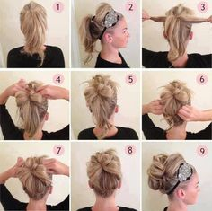 easy updo, dress up or down with different headbands