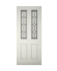 Paintable - 4 Panel Primed Timber Glazed External Front Door, (H)2032mm (W)813mm | Departments | DIY at B&Q