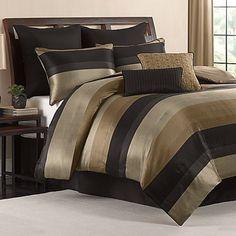 King Size Comforter Set Black Gold Tan Satin Finish 8 Piece Bedroom Bedding NEW…