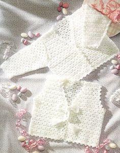 Baby V Neck Cardigan And Vest Crochet Pattern. PDF Instant