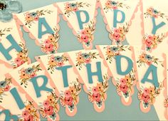 White Flag, Kids Party Supplies, Happy Birthday Banners, Watercolor Flowers, Etsy Seller, Graphics, Decoration, Creative, Decor