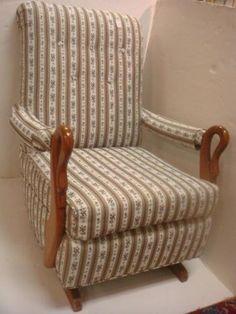 247B: Mahogany Framed Upholstered Goose Neck Rocker: : Lot 247B