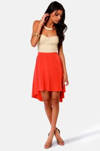 High-Low Can You Go? Beige and Coral Red Strapless Dress