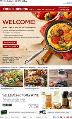 Williams-Sonoma welcome email - great visual design, really draws you in