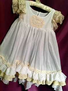 Luxurious Vintage Ivory and white lace shabby chic by Babybonbons, $59.00