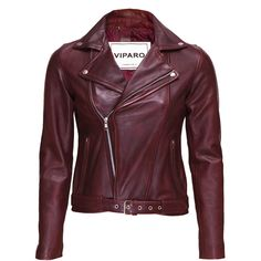 Viparo oxblood wb3 red jacket ($309) ❤ liked on Polyvore featuring outerwear, jackets, lined leather jacket, leather biker jacket, oxblood jacket, red biker jacket and fleece-lined jackets