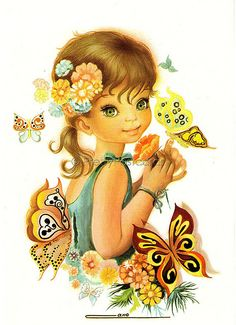Vintage1970s Postcard of a Beautiful Big Eyed Girl with lots of Butterflies