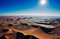 An aerial view of sand dunes at Sossusvlei in the Namib desert
