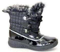 Women's Fashion Ankle Faux Fur Insulated Rain Snow Winter Lace Up Boots in Black, Brown and Silver