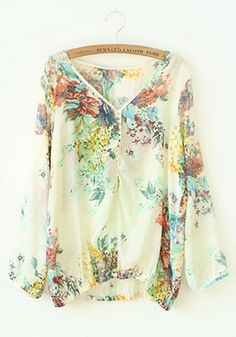 Thinking Spring! Gorgeous Colorful Floral Print V-neck Long Sleeve Cotton Blouse #Spring #Summer #Floral #Fashion