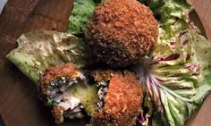 chicken croquettes stuffed with comte  and Black pudding and apple 'Scotch eggs'