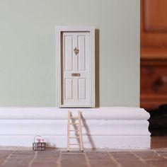 Epic Fairy Door Doll House Door hand painted sage green