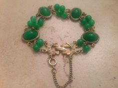 Vintage Green and Gold Bracelet Beaded Safety Chain Costume Jewelry by Stellavintagejewelry on Etsy