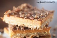 These pumpkin bars are topped with a crunchy pecan topping! The base is made from oatmeal and the filling is like a perfectly creamy pumpkin pie!