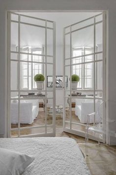 If you decide to put in french doors in your home that means you want more light in there as well. By adding french doors you are changing the intensity of light that comes in your rooms. Interior Barn Doors, Home Interior, Interior Architecture, Interior French Doors, Scandinavian Interior, Architecture Unique, Interior Door Styles, Stylish Interior, Door Design Interior