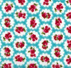 Turquoise Vintage Roses Cotton Poplin Fabric Material, 110cm wide, by the FQ
