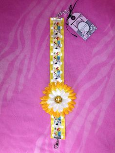Yellow ad white flower dog necklace on Etsy, $18.00