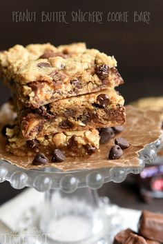 Peanut Butter Snickers Cookie Bars by Mom on Timeout