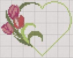 Tulip heart love perler bead pattern
