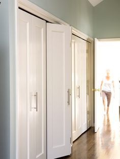 love the wall colour, love the floor stain, love the simple shaker doors...love what looks like Ikea kitchen door handles! Makes me miss our awesome custom closets in our old master - priority #1 for our new bedroom