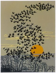 Starlings performing aerial manoeuvres above their roost in the evening light - linocut - Robert Gillmor, born U. Art Et Illustration, Illustrations, Landscape Illustration, Linocut Prints, Art Prints, Block Prints, Art Graphique, Wood Engraving, Pics Art
