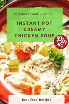 Instant Pot Creamy Chicken Soup  This instant pot hen soup is so easy and hearty with masses of greens. Make it creamy, but still wholesome and coffee carb with the addition of a touch heavy cream. At this factor i delivered all of the greens. I locked the lid over again and i set the time to zero.  #easycrockpotmeals #crockpotchicken #crockpotchickenrecipes #BestFood Best Chicken Recipes, Chicken Salad Recipes, Creamy Chicken, Chicken Soup, Good Food, Yummy Food, A5, Instant Pot, Zero