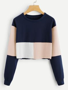 To find out about the Colorblock Crop Sweatshirt at SHEIN, part of our latest Sweatshirts ready to shop online today! Teen Fashion Outfits, Trendy Outfits, Cute Outfits, Fashion Dresses, Fashion Fashion, Fashion Styles, Fashion Clothes, Style Clothes, Fashion Black