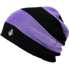 Volcom Girls More Black & Purple Stripe Beanie at Zumiez : PDP ❤ liked on Polyvore