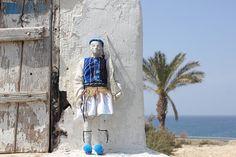 tsolias greek traditional doll handmade recycle art figure greek souvenir modern greece recycled papier mache