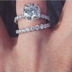D/VVS1 DIAMOND BRIDAL WEDDING SET ENGAGEMENT RING  ROUND CUT 3 CT 14K WHITE GOLD