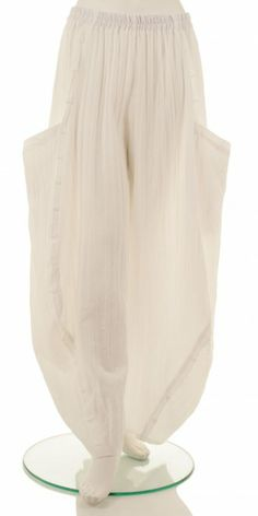 """Bestselling """"no ordinary"""" balloon style, ecru soft lightly crushed, ruffled trim details trouser from our plus size European designer Champagne. Visit us on www.idaretobe.com"""