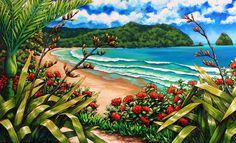 Caz Novak, Taranaki, New Zealand New Zealand Beach, New Zealand Art, Nz Art, Maori Art, Kiwiana, Pintura Country, Seashell Crafts, Landscape Art, Vintage Posters