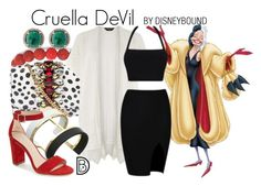 """Cruella DeVil"" by leslieakay ❤ liked on Polyvore featuring Palm Beach Jewelry, GEDEBE, Disney, Dorothy Perkins, Vince Camuto, Pelle Moda, disney, disneybound and disneycharacter"