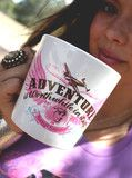 "this biggo oversized coffee mug shouts out one of our favorite quotes by amelia earhart - ""adventure is worthwhile in..."