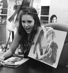 #TVD The Vampire Diaries Nina Dobrev(Elena/Katherine/Amara etc..) that drawing looks awesome!