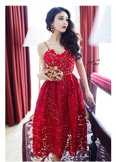 Europe and America Lady Hollow Suspenders Red white Dress Palace Lace Summer Bohemia Sexy The Beach Dress Lolita Retro V-Neck