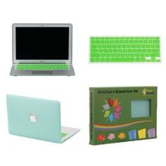 "Bundle Monster Apple MacBook Air 11"" Crystal Hard Case Shell and Keyboard Sleeve Cover Combo - Green - Fits only the MacBook Air 11"" Size"