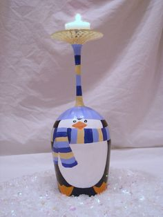 Penguin Wine Glass Candle Stand by neatstuf on Etsy