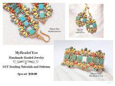 Beaded Bracelet SuperDuo BraceletSouthwest by mybeads4you on Etsy 2 piece Great Set!  Beautiful bracelet and earrings beadwoven with SuperDuo Beads.