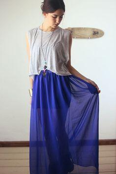 sheer chiffon cobalt blue maxi skirt with any length slip under