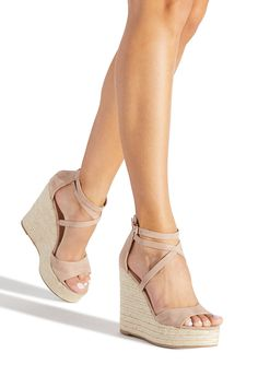 Macie Espadrille Wedge in Nude - Get great deals at JustFab Wedge Sandals Outfit, Wedge Shoes, Shoes Heels, Sandal Wedges, Buy Shoes, Me Too Shoes, San Francisco Giants, Espadrilles, Cowboy Boots Women