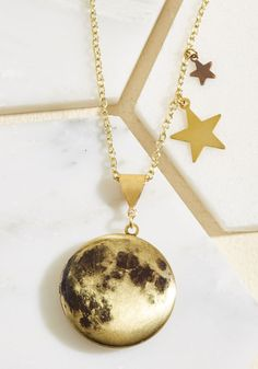 Many Moons Ago Necklace. Once upon a time, when the world was full of wonder, Eclectic Eccentricity conceived this golden locket. #multi #modcloth