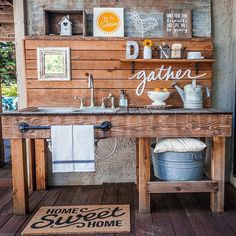 Remember I posted that cute GATHER sign awhile back? Well it's new home is on my outdoor kitchen sink, along with some other fun old and new accessories (tag for sources) ☀️ This DIY project is one of my favorites and it's just about cleaned up for a third year of summer entertaining, yay!