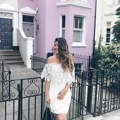 Mimi Ikonn | White Off Shoulder Dress, Lace Detail, Stella McCartney, Falabella Bag | OOTD, Summer Outfit