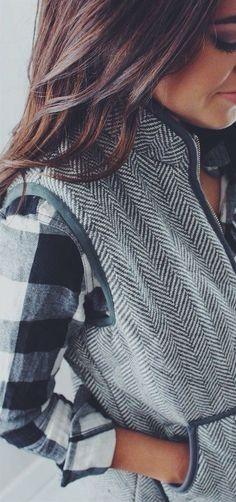 #winter #fashion / vest + plaid