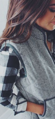 #winter #fashion / vest + plaid